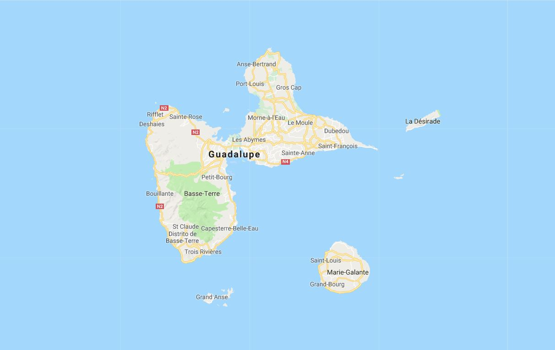 Mapa Guadalupe, Antillas francesas