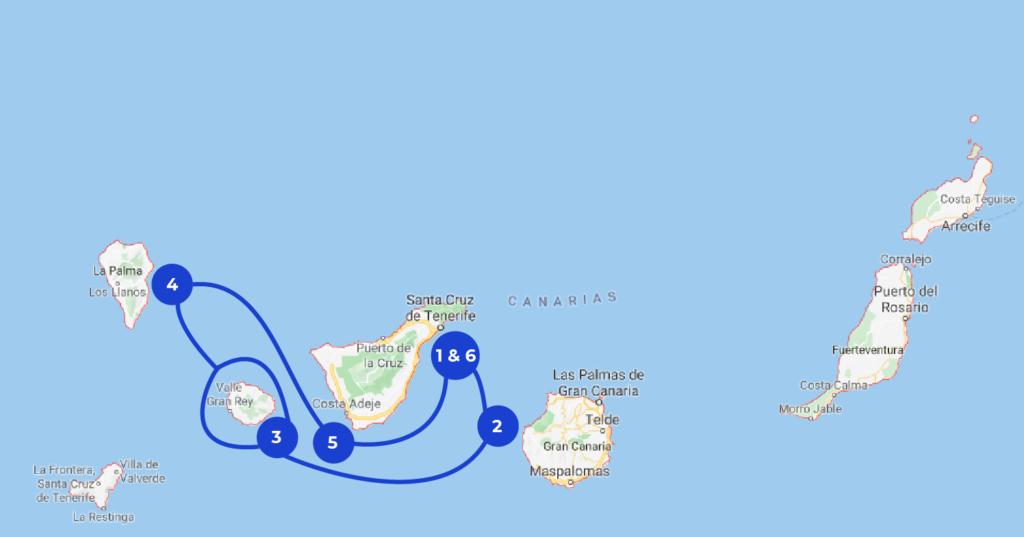 Mapa de crucero en las Islas Canarias