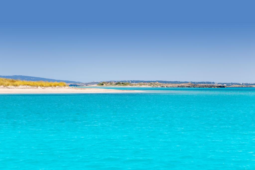 Isla de Espalmador situada a 150 metros de la Playa de Illetes al norte de la isla