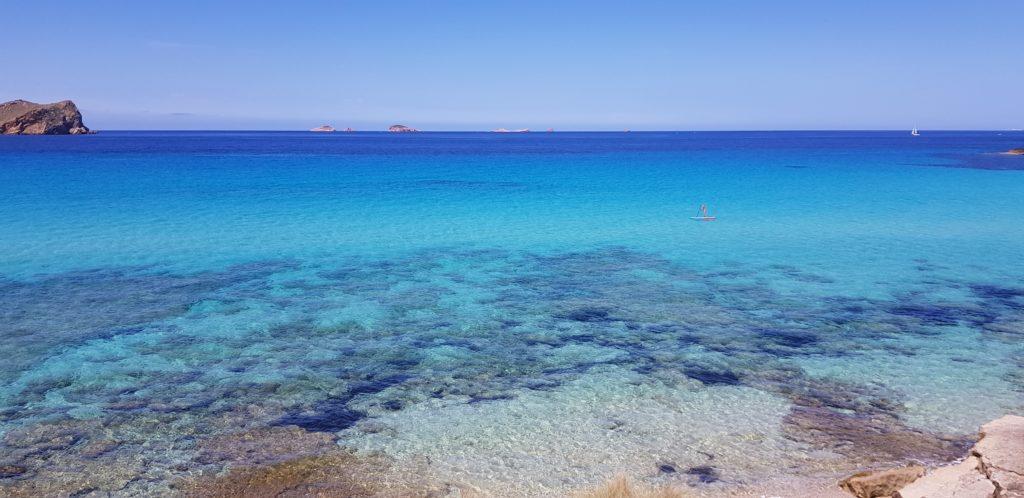 Playa de Illetes en Formentera al norte de la isla. Famosas por sus beach clubs
