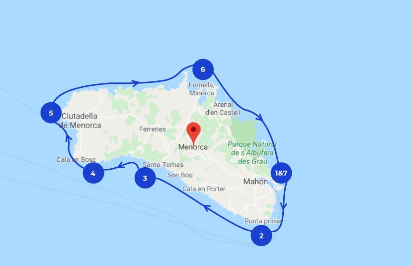 Ruta de navegación por Menorca