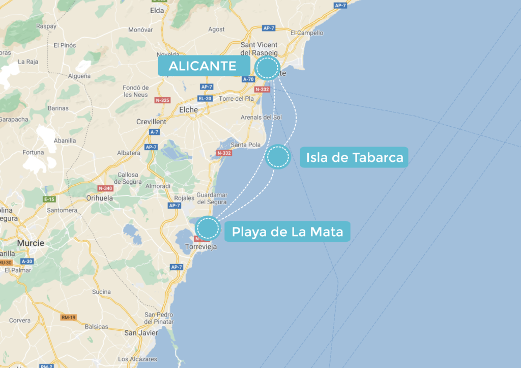 Mapa de la ruta en Alicante